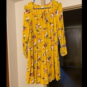 Old Navy Mustard Yellow Long Sleeve Dress